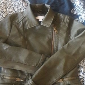 Olive green faux leather jacket.
